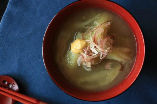 茄子と茗荷のお味噌汁
